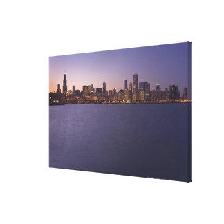 The Chicago skyline at twilight. Canvas Print