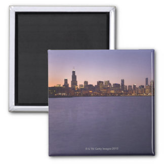 The Chicago skyline at twilight. Magnets