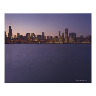The Chicago skyline at twilight. Poster