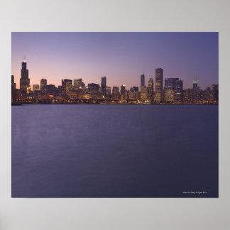 The Chicago skyline at twilight. Print