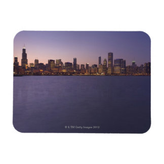 The Chicago skyline at twilight. Flexible Magnet