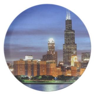 The Chicago skyline from the Adler Planetarium Plate