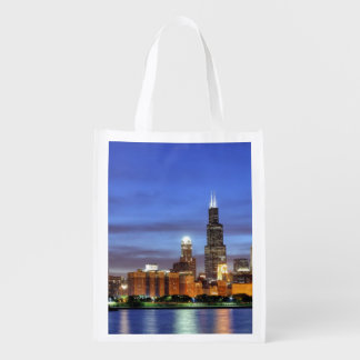 The Chicago skyline from the Adler Planetarium Reusable Grocery Bag