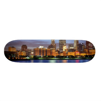 The Chicago skyline from the Adler Planetarium Skateboard