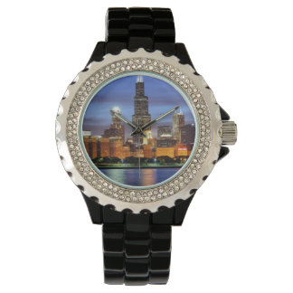 The Chicago skyline from the Adler Planetarium Watch
