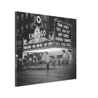 The Chicago Theater at Night, 1941 Stretched Canvas Print