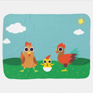 The Chicken Family at Daytime Baby Blanket