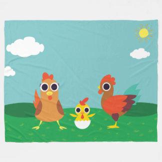 The Chicken Family at Daytime Fleece Blanket