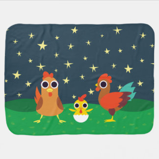 The Chicken Family at Night Baby Blanket
