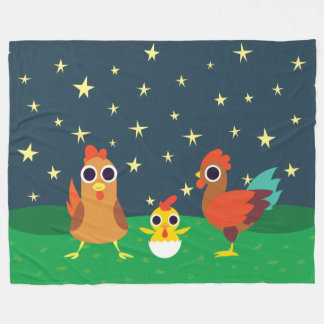 The Chicken Family at Night Fleece Blanket