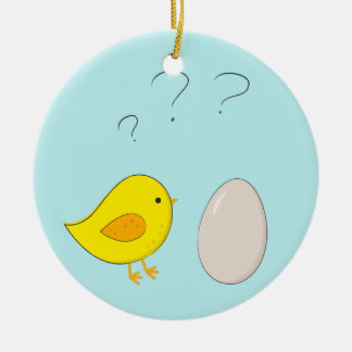 The chicken or the egg cute Easter cartoon Christmas Ornament