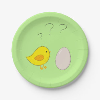 The chicken or the egg cute Easter cartoon Paper Plate
