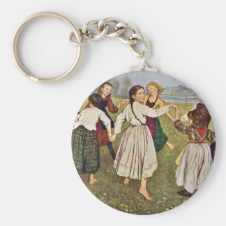 The Child Round Dance By Thoma Hans Basic Round Button Key Ring
