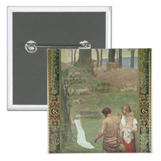 The Childhood of St. Genevieve 15 Cm Square Badge