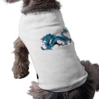 The chinese blue dragon sleeveless dog shirt