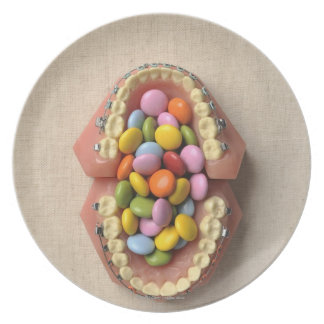 The chocolate served in the dental model plate
