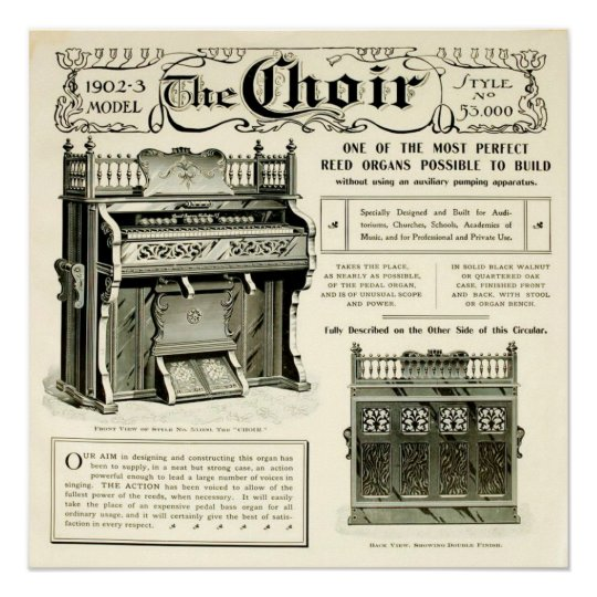 The Choir ~ Vintage Reed Organ Advertising Poster