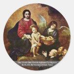 The Christ Child Distribute Bread To Pilgrims Round Sticker