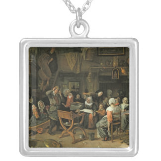 The Christening Feast, 1668 Silver Plated Necklace
