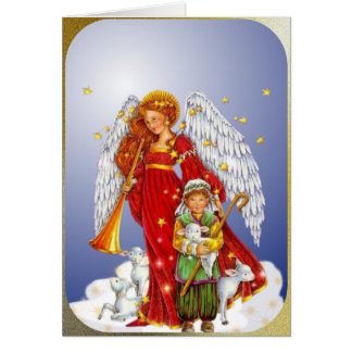 The Christmas Angel and the Little Shepherd Boy Card