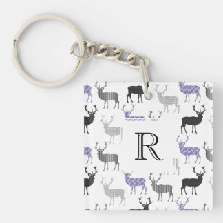 The Christmas Deer Double-Sided Square Acrylic Key Ring