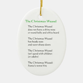 The Christmas Weasel Ceramic Oval Decoration