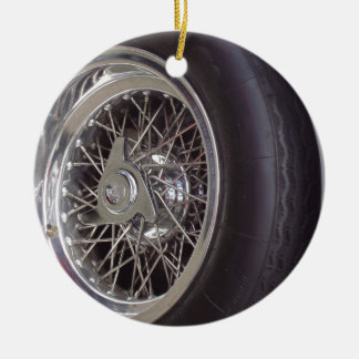 THE CHROME WHEEL ROUND CERAMIC DECORATION