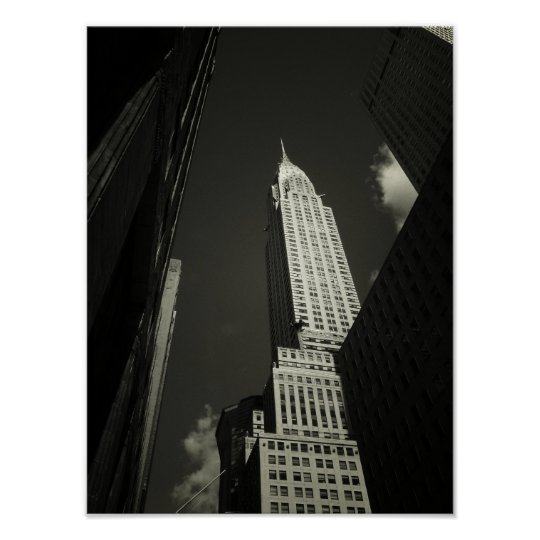 The Chrysler Building, Black and White, Small Poster