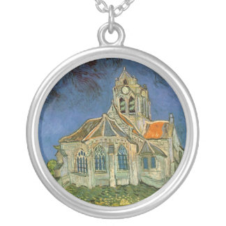 The Church at Auver by Vincent Van Gogh Round Pendant Necklace