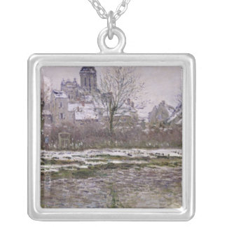 The Church at Vetheuil under Snow, 1878-79 Silver Plated Necklace