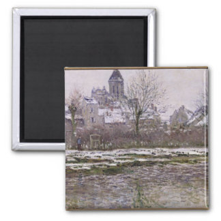 The Church at Vetheuil under Snow, 1878-79 Square Magnet