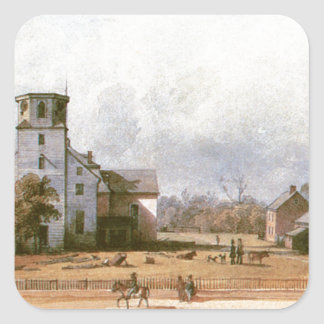 The church of New Harmony by Karl Bodmer Square Sticker