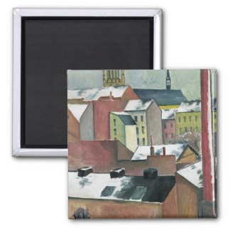 The Church of St Mary in Bonn in Snow, 1911 Square Magnet