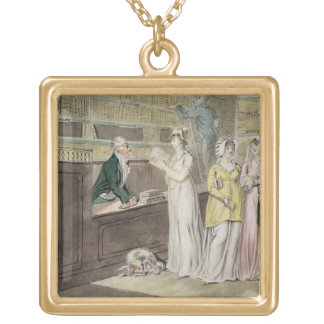 The Circulating Library (pen and ink and w/c and w Gold Plated Necklace