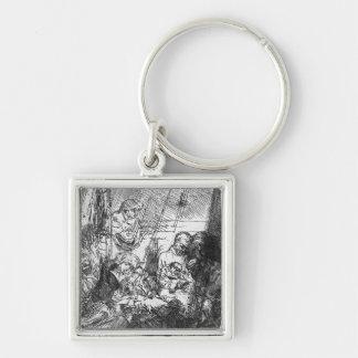 The Circumcision, 1654 Silver-Colored Square Key Ring