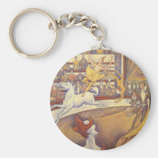 The Circus by Georges Seurat, Vintage Pointillism Basic Round Button Key Ring