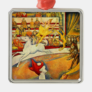 The Circus by Georges Seurat, Vintage Pointillism Christmas Ornament