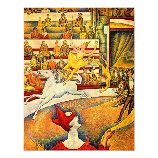 The Circus by Seurat, Vintage Pointillism Fine Art Custom Announcements