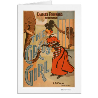 The Circus Girl - Feeding Elephant and Monkey Card