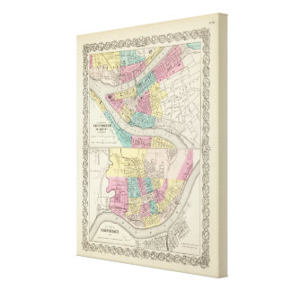 The Cities Of Pittsburgh Allegheny Cincinnati Canvas Print