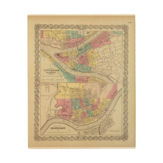 The Cities Of Pittsburgh Allegheny Cincinnati Wood Canvas