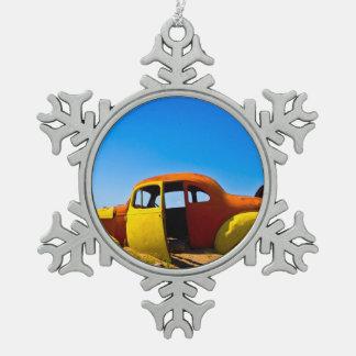 The Citrus Car a Vintage 1936 Hudson Orange Yellow Pewter Snowflake Decoration
