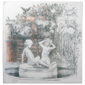 the city fountain with figurines of girls napkin