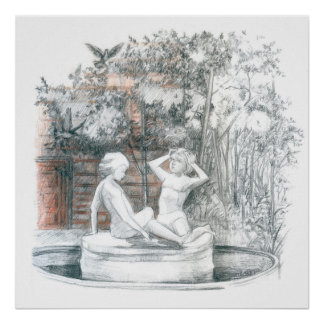 the city fountain with figurines of girls poster