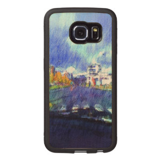 The city from a car wood phone case