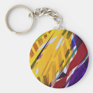 The City II - Abstract Rainbow Streams Keychain