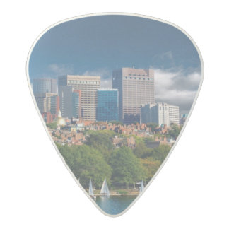 The city of Boston and Charles river Acetal Guitar Pick