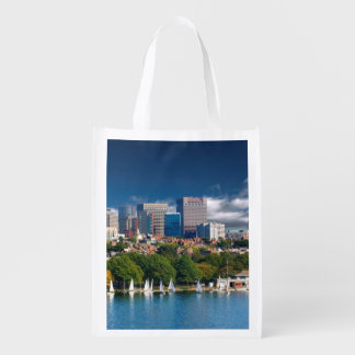 The city of Boston and Charles river Reusable Grocery Bag