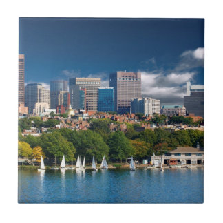 The city of Boston and Charles river Small Square Tile