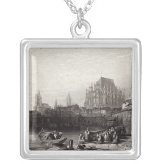 The City of Cologne, engraved by M.J. Sterling Silver Plated Necklace